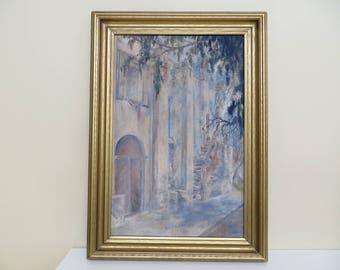 "Vintage Oil Painting Original unsigned / Architectural landscape / 21 X 15 "" / Levines frame / great condition"