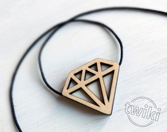 Diamond wood necklace -- wood diamond pendant, wood diamond necklace, wood geometric necklace, white wood geometric necklace, wood pendant