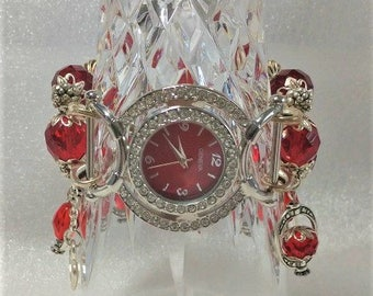 Red Dangle Wristwatch, Interchangeable Stretchy Watchband, Red Crystal Cut Glass Beads, Silver Vintage Style Watch For Women, OOAK, Bling