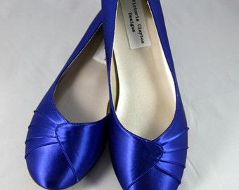 Royal Blue Wedding Flat  - Size 10- Sale Ready to Ship