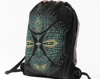 Canvas Drawstring Bag, Psychedelic, Festival Bag, Sack Bag, Screen Printed Bag, Rucksack, Burning Man, Festival Backpack