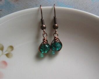 Teal Green Earrings - Vintage Inspired Earrings - Herringbone Copper Earrings