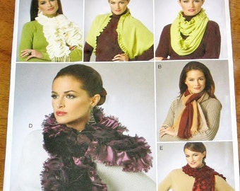 Vogue 8702 Infinity Scarf, Ruffled Boa, Fringe Fashion Scarves, Womens Misses Outerwear Accessories Craft Sewing Pattern Uncut Factory Folds
