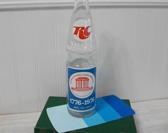 RC Soda Pop Bottle Bicentennial George Rogers Clark Memorial Vincennes Indiana 1776 - 1976 Souvenir Bottle