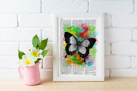 Wall art home decor Watercolor collection Butterfly Vintage Dictionary Book page. Wall decor , wall hanging  BFL009