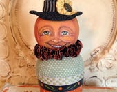 Folk Art One of a kind Halloween Witch PUMPKIN Primitive candy container doll Penny Grotz