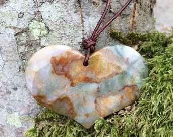 Fancy Jasper Heart and Leather Necklace, Large Heart Stone Necklace