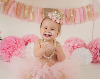 First Birthday crown cursive ONE    mini Sienna gold    baby pink flowers lace crown headband   photography prop