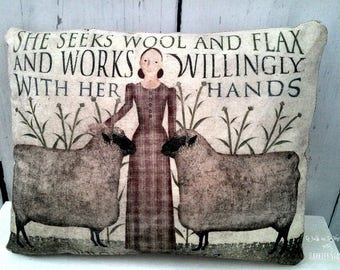 Primitive Sheep Pillow | Folk Art Sheep Pillow | Primitive sheep decor | She Works Willingly With Her Hands | Folk Art Sheep Pillow