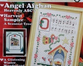 Cross Country Stitching ANGEL AFGHAN Harvest Sampler By Jeremiah Junction - Counted Cross Stitch Pattern Magazine - February 1997