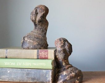 Black Chippy Antique Clawfoot Tub Feet Bookends Cast Iron Architectural Salvage