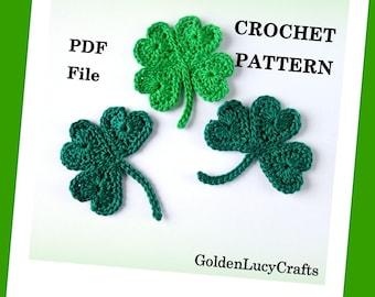 CROCHET PATTERN, Free, St Patrick's Day Shamrock, Lucky Clover Appliqués, PDF File, Free pattern offering