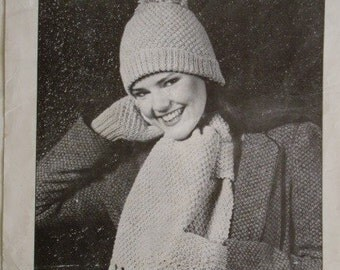 Knitted Hat, Mitts and Scarf Set Pattern by Beehive No. 334
