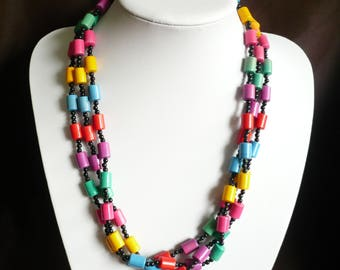 "Vintage Multi Strand Necklace Primary Color Beads 3 Colorful Red Blue Green 24"" Long"