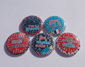 "1"" Flat Back Buttons Little Patriot 4th of July Americana Red White and Blue"