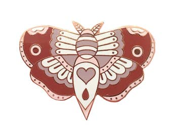 Rose Gold Traditional Tattoo Style Moth Enamel Pin