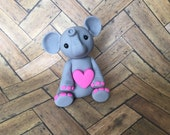 RESERVED - Little Gray Elephant with Pink Heart - Polymer Clay Sculpture - Cake Topper keepsake - Art by Sarah Price