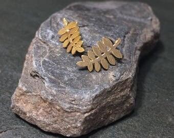 Gold or silver mini fern stud earrings