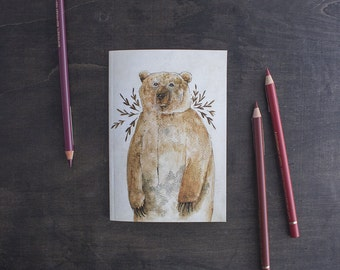 Brown Bear Notebook. Blank Plain Page Notebook. Woodland Animals Stationery. Forest Animal Sketchbook. Animal Art Journal. Drawing Book