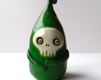 Polymer Clay Monster Sculpture - Clay Monster Figurine - Green Monster Decor - Halloween Decoration - Grim Reaper Decor - Clay Creature OOAK