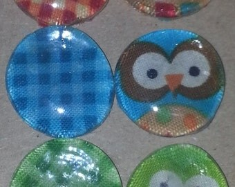 Owl/Plaid Magnets, set of 6
