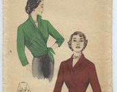 1950's Butterick 5537 Misses Surplice Wrap Blouse Wing Collar Vintage Sewing Pattern Bust 32