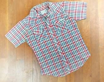 Pearl Snap Western Shirt Men's Medium 1970's Vintage Plaid Tartan Button Down Sheer Thin Distressed Sears Roebucks Blue Red Short Sleeve