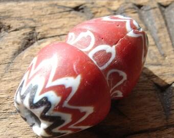 Venetian red large barrel chevron Trade bead