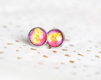 Pink Yellow Stud Earrings, Yellow, Stud Earrings, Pink Studs, Yellow Studs, Flower Studs, Floral Studs, Flower Earrings, Begonia