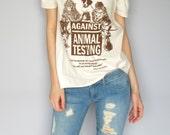 Against Animal Testing off-shoulder woman's animal rights vegan natural screenprint cotton shirt top