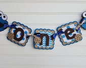 ONE Banner,  high chair banner,  Sesame Street, Cookie Monster photo banner,  Elmo banner, Cookie Monster decorations. Happy Birthday Banner