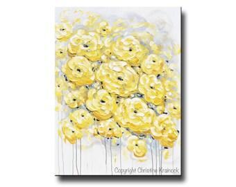 ORIGINAL Art Abstract Painting Yellow Grey Flowers Colorful Modern Large Art Acrylic Painting Wall Art Peonies Textured - Christine Krainock