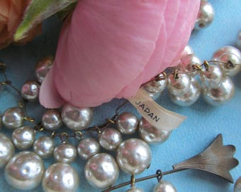 "Vintage Japanese Glass Pearl Drops  ""Double Decker"" On Headpins"