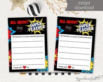 All About My Super Teacher - Printable - Teacher Gift - School Printable - Teacher Appreciation - Instant Download