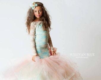 Girls mermaid dress, Summer Rose Vintage Couture Mermaid Dress