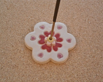 Whimsical incense holder with hearts or flower - Ceramic incense stick holder