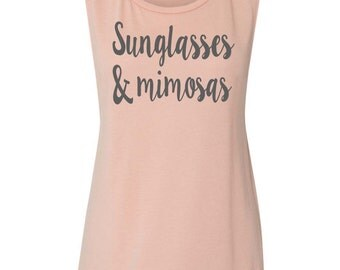 Sunglasses and Mimosas Muscle Tank Brunch Tank Top Drinking Tank Brunch Tank Tops