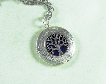 Silver Locket Necklace, Deep Blue Enameled Celtic Tree of Life Womens Gift  Handmade