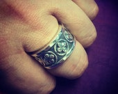 Mens Solid 925 Sterling Silver Spanish Bolt Ring made with Antiqued Chunky Cross Design
