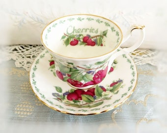 Vintage Royal Albert Vintage Teacup and Saucer Bone China CHERRIES 1996 Covent Garden Fruit Series CharlotteStyle Charlotte Style