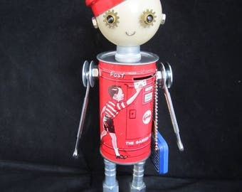 Mr. Carrier Bot - found object robot sculpture assemblage by Cheri Kudja with Bitti Bots