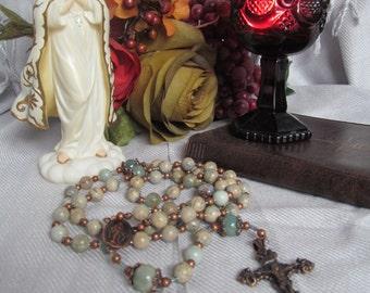 Catholic Rosary Blue Green Aqua Terra and Copper