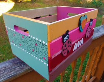 Kid's Personalized Storage Crate -Basic Design- Made to Order