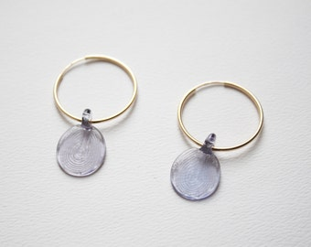 Pressed Hand Made Flameworked Lampworked Amethyst Color Glass Earrings on 14k Gold Hoops