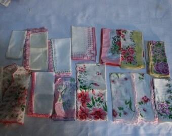 15 Vintage Handkerchiefs Hankies 1960s Pinks white Floral purple Mixed Lot 60s