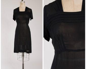 Vintage 1940s Dress • Whispered Promises • Sheer Black Rayon Chiffon 40s Dress Size Large