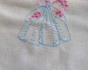 Vintage SOUTHERN BELLE Dresser Scarf - Hand Embroidered Aqua Pink Lady Table Runner - Pink Crochet Hems -  Vintage Table Linens