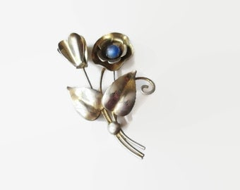 Art Deco Sterling Spray Brooch Faux Sapphire Cabochon Gold Washed 1940s
