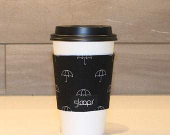 Reusable Coffee Cup Cozy in Umbrella Print Fabric Reusable Paper Cup Sleeve Black and White Umbrella Print