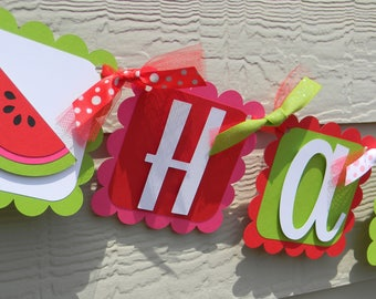 Watermelon Birthday Banner, Watermelon Party Banner, Watermelon Party Decor, One in a Melon Party, Watermelon in Red, Green and Pink Banner